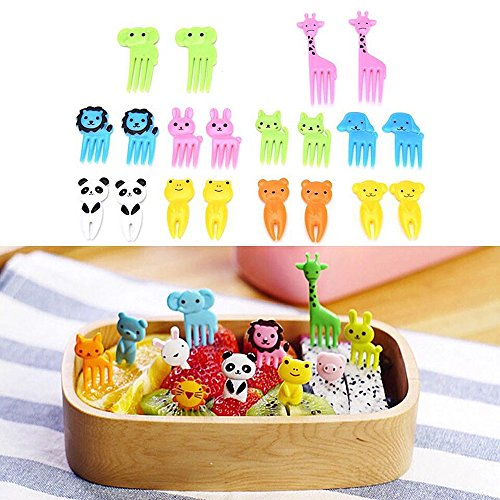 Easy Halloween Cupcake Decorations For Kids (MINILUJIA Children Halloween Picks Fruit Forks Bento Decoration Box Animals Colorful Cupcake Picks Small Flatware Pack of 20)