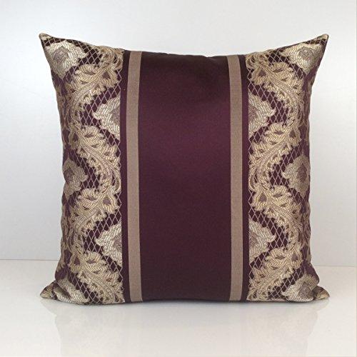 Purple, Tan Gold Pillow, Throw Pillow Cover, Decorative Pillow Cover, Cushion Cover, Accent Pillow, Pillow Sham, Satin Blend, Stripe Pattern (22