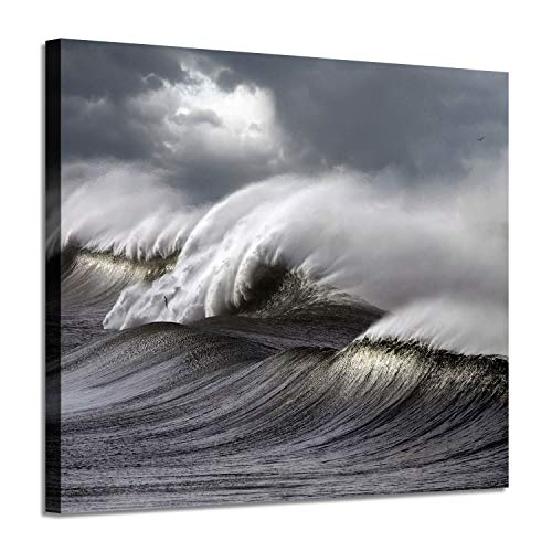 Seascape Abstract Canvas Wall Art: Ocean Waves Graphic Art Painting Print for Wall Decor for Bathroom - Photography Ocean Art