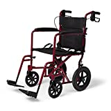 Caremax Healthcare Folding Aluminum Transport Chair with Companion Brakes, Red, 19 Inches Seat Width