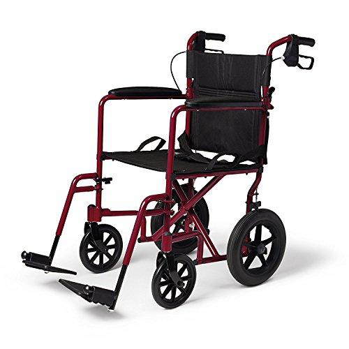 Caremax Medical Heavy Duty Transport Chair with 12 Inches Rear Flat Free Wheels,Burgundy, 19 (Heavy Duty Transport Chair)
