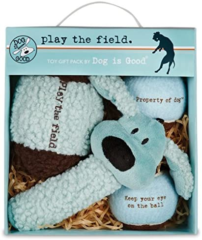 Dog is Good 4-Piece Dog Toy Gift Box – Play The Field Plush Toys Great for Games of Fetch to Exercise Your Dog