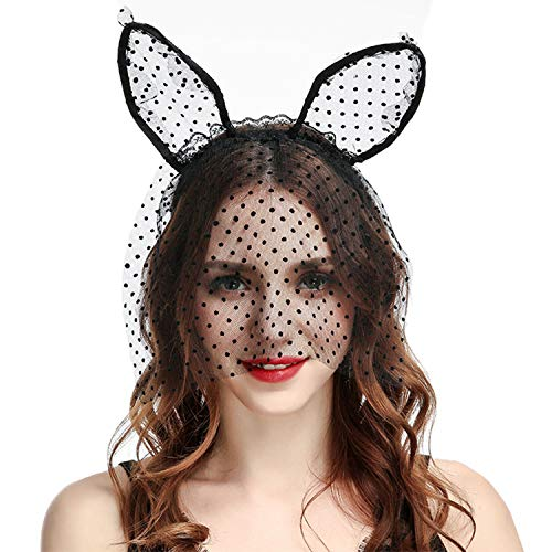 Croozy Womens Cat Ear Headbands with Polka Dot Veil Lace Hair Hoops for Halloween Costume Party Cosplay Masquerade Headpiece Nightclub ()
