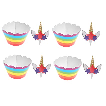 Amosfun Unicornio Cupcake Decoraciones Toppers y envoltorios ...