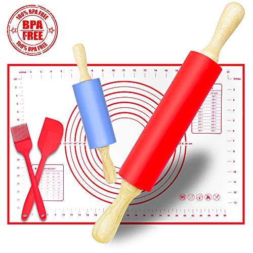(Rolling Pin, Large and Small Non-Stick Silicone Dough Rollers with Kneading Pastry Measurement Mat, Spatula and Pastry Brushes for Making Dough, Pizza, Pie, Pastries, Pasta and Cookies)