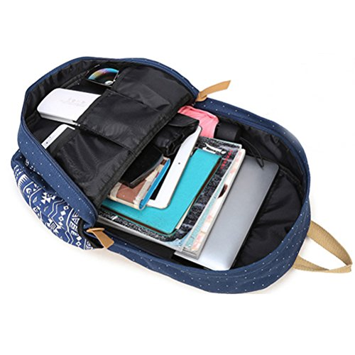 Inwagui 3 Teile Set Mädchen/Jungen Leinwand Rucksack Daypacks Schulrucksack + Lunch Tasche + Purse - Dunkelblau MLKqxC8lq
