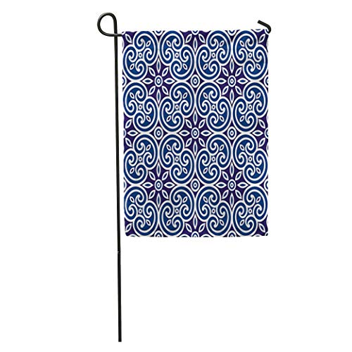 (Semtomn Garden Flag Brown Royal Geometric of Italian Pattern Modular Abstract Cage Cells Home Yard House Decor Barnner Outdoor Stand 12x18 Inches Flag )