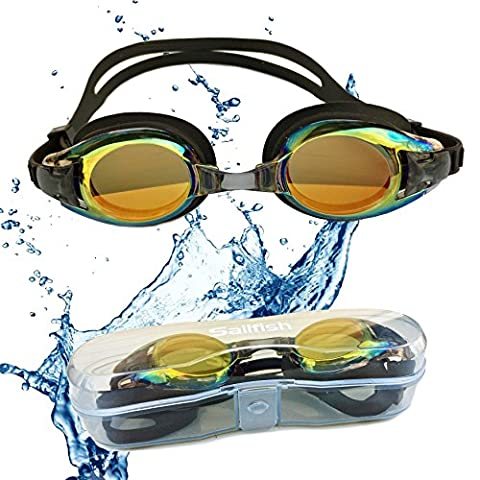 Kids Swim Goggles - Anti Fog - Mirror Coating - Latex Free - UV Protection - Easy Adjustable Strap - Clear Vision - No Leak Design - Free Protective Case - For Kids and Early - Long Wave Uv Lamp