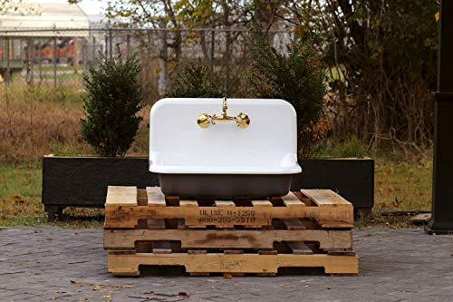 "30"" Antique Inspired High Back Farm Sink Cast Iron Original Porcelain Wall Mount Kitchen Sink Package Tricorn Black"