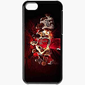 Personalized iPhone 5C Cell phone Case/Cover Skin Chicago Bulls NBA Black