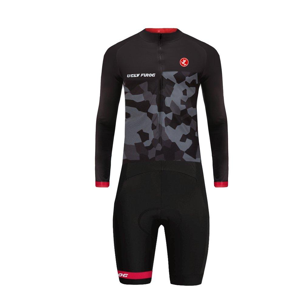Uglyfrog 07 Designs Mens Long Slevve Jersey + Short Lges Triathlon Suit/Trisuit Cycling Skinsuits Speedsuit Compressible Breathable & Quick Drying for Biking wear by Uglyfrog