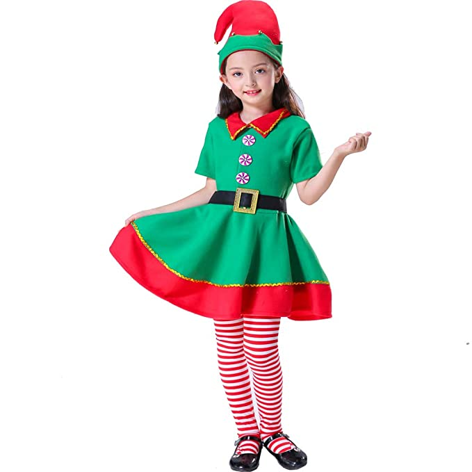 0793d4d3de18 Amazon.com: Leader Jin Women Girls Holidays Elf Costumes (Fits Height 130  cm): Clothing