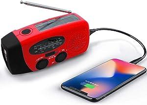 Upgraded Emergency Solar Weather Radio Hurricane Supplies Earthquake Kit Hand Crank Self Powered AM/FM/WB NOAA Wind up Survival Radios LED Flashlight 1000mAh Power Bank for iPhone Smart Phone (Red)