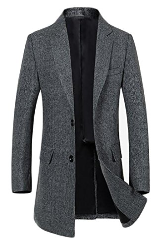 ARRIVE GUIDE Mens Tweed Wool Blend Slim Warm Winter Pea Coat Jacket Outwear Gray Medium (Tweed Overcoat)