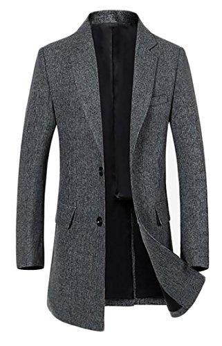 Gray Tweed Jacket - ARRIVE GUIDE Mens Tweed Wool Blend Slim Warm Winter Pea Coat Jacket Outwear Gray Small