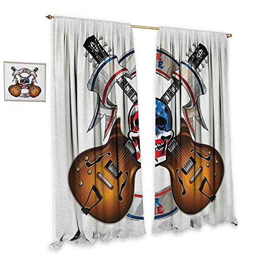 "cobeDecor Guitar Simple Curtain Crossed Electric Guitars with Skull American Flag Live Free Or Die Biker Culture Darkening and Thermal Insulating 55"" Wx72 L Multicolor"
