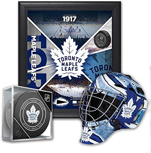 """Toronto Maple Leafs Ultimate Fan Collectibles Bundle - Includes Team Impact 15"""" x 17"""" Frame, Mini Goalie Mask and Official Game Puck"""