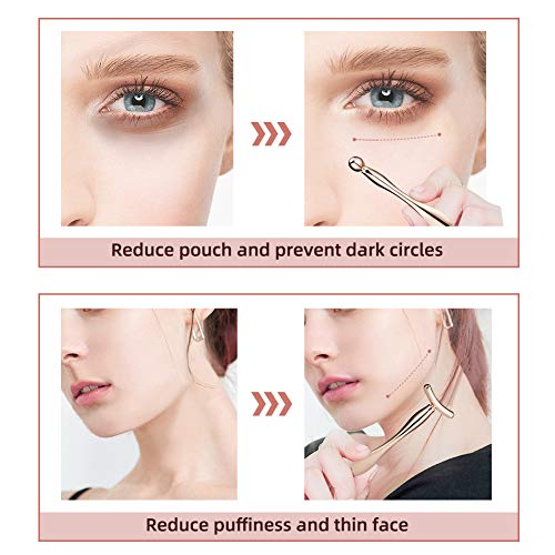 Lisapack 2PCS Metal Eye Cream Applicator Wand Stick, Massager Tool for Facial Massage, Reduce Puffiness (Rose Gold)