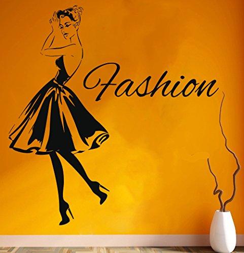 Wall Decal Window Sticker Beauty Salon Woman Face Fashion Style Clothing Boutique Dress Black Dress Model Hat t222