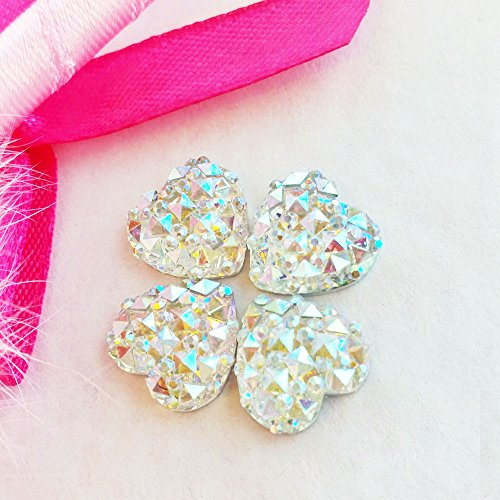 Heart Wedding Sampler (15 Pcs 12mm Heart Crystal AB Glittery Acrylic Special Effect Rhinestonesship with samples from GreatDeal68)
