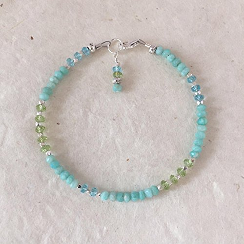 JP_Beads Amazonite Apatite Peridot Karen Hill Tribe Thai Silver Beaded Stacking Bracelet, Sundance Style, Boho Chic, Layering Bracelet 3-4mm