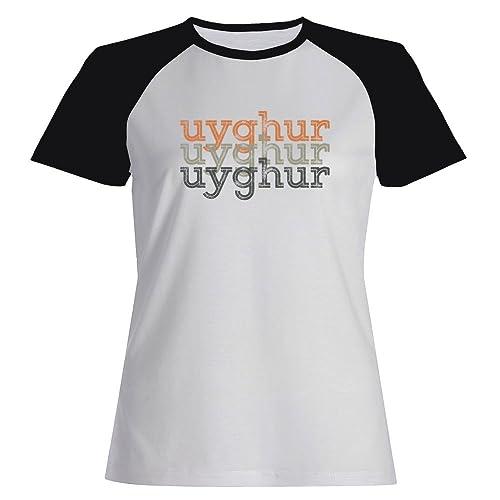 Idakoos Uyghur repeat retro – Lingue – Maglietta Raglan Donna