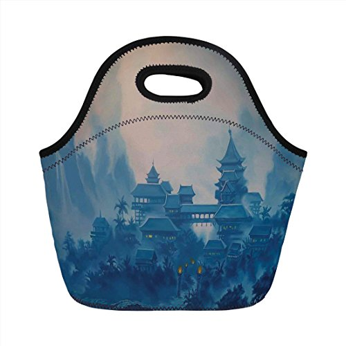 Neoprene Lunch Bag,Farm House Decor,Chinese Temple Paint Mist with Lanterns at Night Artsy Oriental Religious Image,Blue,for Kids Adult Thermal Insulated Tote Bags