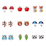 Multi Packs Animals Fruit Theme Earrings Set for Girls, Hypoallergenic
