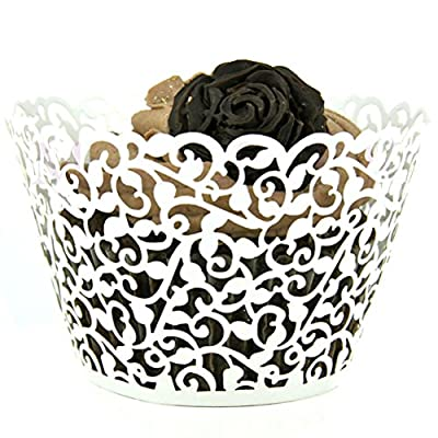 Mialand(TM) 50 Filigree Little Vine Lace Laser Cut Cupcake Wrapper Liner Baking Cup from Mialand