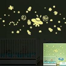 Spaceship Stars Astronauts Night Lighting Wall Decal PVC Home Sticker House Vinyl Paper Decoration WallPaper Living Room Bedroom Kitchen Art Picture DIY Murals Girls Boys kids Nursery Baby Playroom Decor