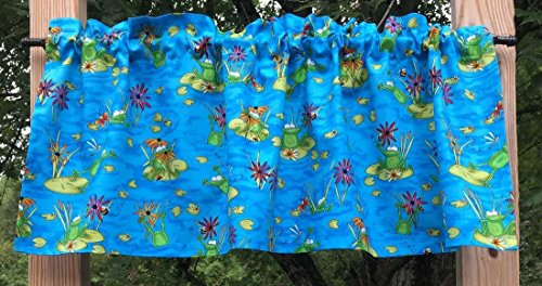 - Green Frog Lilypad Bee Dragonfly Ladybug Floral Vibrant Pond 15L Blue Curtain Valance