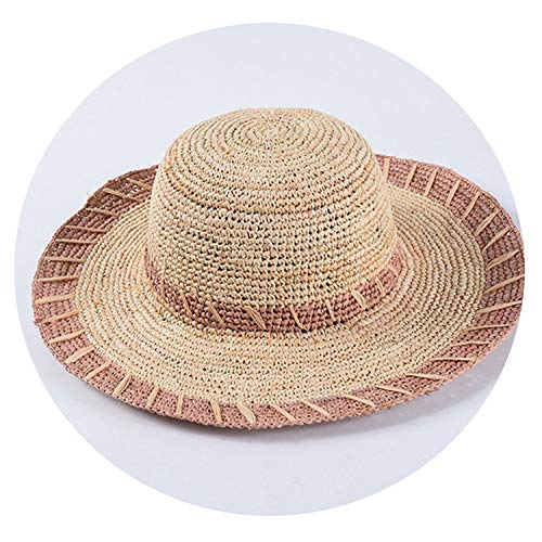 2019 Newest Women Raffia Sun Hats Hand-Crocheted Striped Straw Casual Summer Large Brim Beach,Lavender,56-58cm