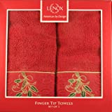 Lenox Christmas Ribbon and Holly Boxed Fingertip Towel Set of 2