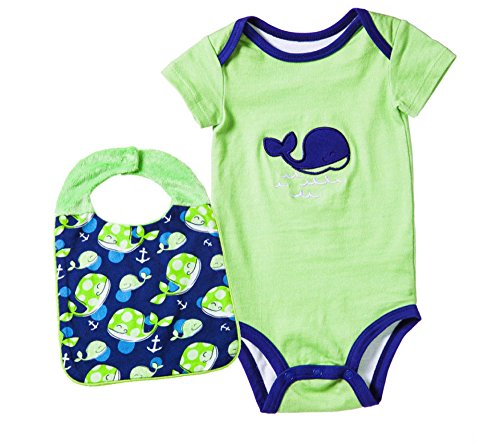 Price comparison product image Blue Whale Embroidered Onesie With Matching Bib Set Size 0-6 Months