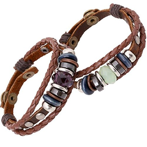 Unisex Leather Multilayer Adjustable Bracelet