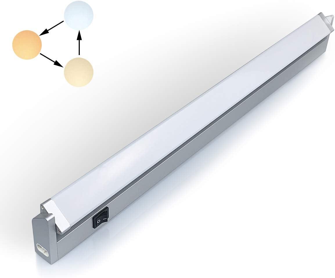 LED iluminacion bajo Mueble Giratoria con Tres Temperaturas de Color 3000 K/4000 K/6000 K Luz Cocina Estante Lavabo Armario con Kit de Instalación de 10.50watts 56cm