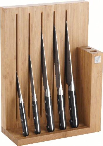 Zwilling Pro Messerblock, Bambus, 6-tlg., 125 x 275 x 380 mm (Rostfreier Spezialstahl, Zwilling Sonderschmelze, genietet, Vollerl, Kunststoff-Schalen) schwarz