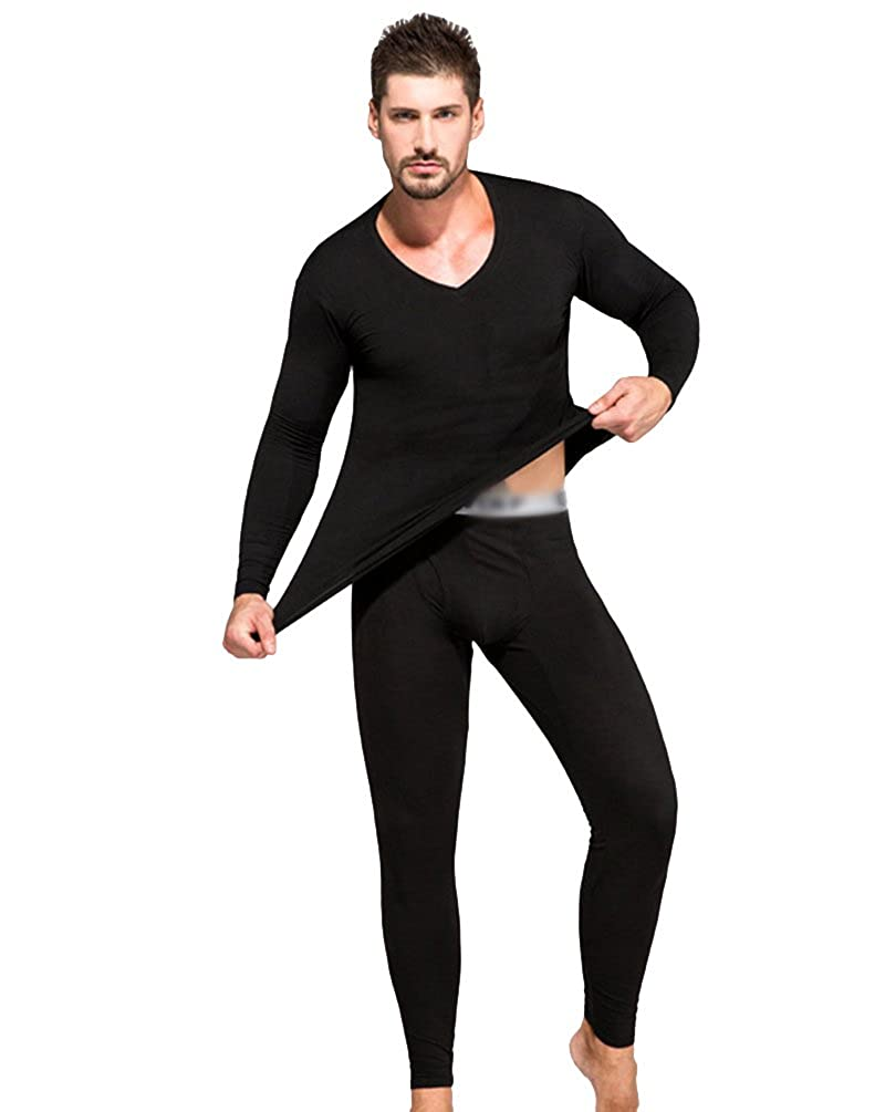 Yiiquan Uomo Set Intimo Termico V Collare Maniche Lunghe T-Shirt Tuta Pantaloni Biancheria Intima