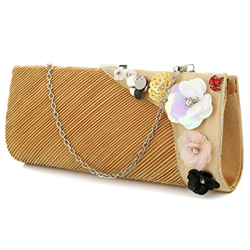 YYW Pleated Clutch Bag - Cartera de mano para mujer dorado