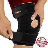 4well Knee Patella Support Brace for Men Women | Best Open Patella Knee Stabilizer for Walking Injury Recovery Running Sport ACL | Non Slip Comfortable Adjustable Knee Brace Neoprene FDA Approved