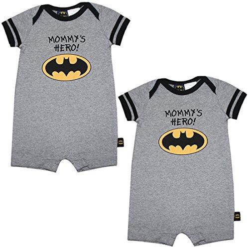 [(Pack of 2) Baby Boys BATMAN One-Piece Short Sleeve Romper / Onesie 0-3M Grey] (Batman Outfit Baby)