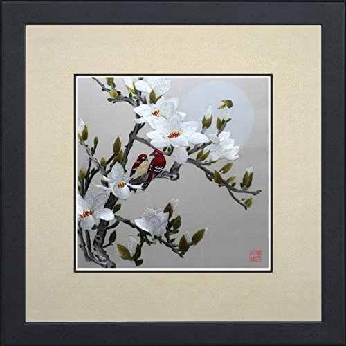 King Silk Art Handmade Embroidery Love Birds on Cherry Blossom Trees 31041