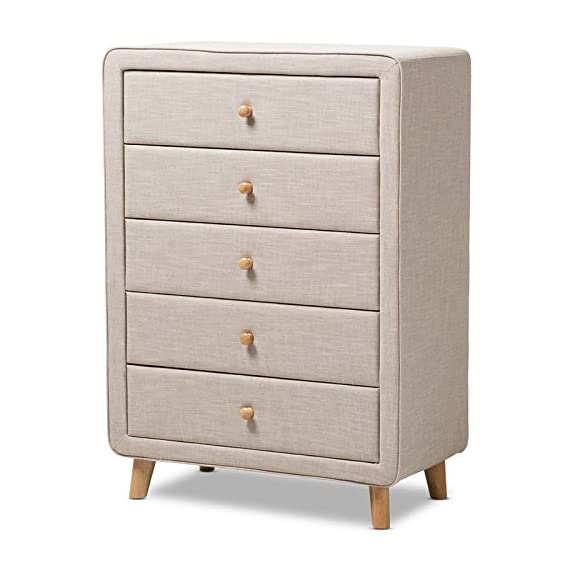 Baxton Studio 5-Drawer Mid-Century Chest in Beige - Mid-century style Natural oak buttons drawer pulls Splayed wooden legs - dressers-bedroom-furniture, bedroom-furniture, bedroom - 51Fp9zsWI%2BL. SS570  -