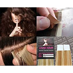 "10 Pcs X 22"" inches Remy Seamless Tape In Skin weft Human Hair Extensions Color 7G/9G Strawberry Blonde Mix Light Blonde"