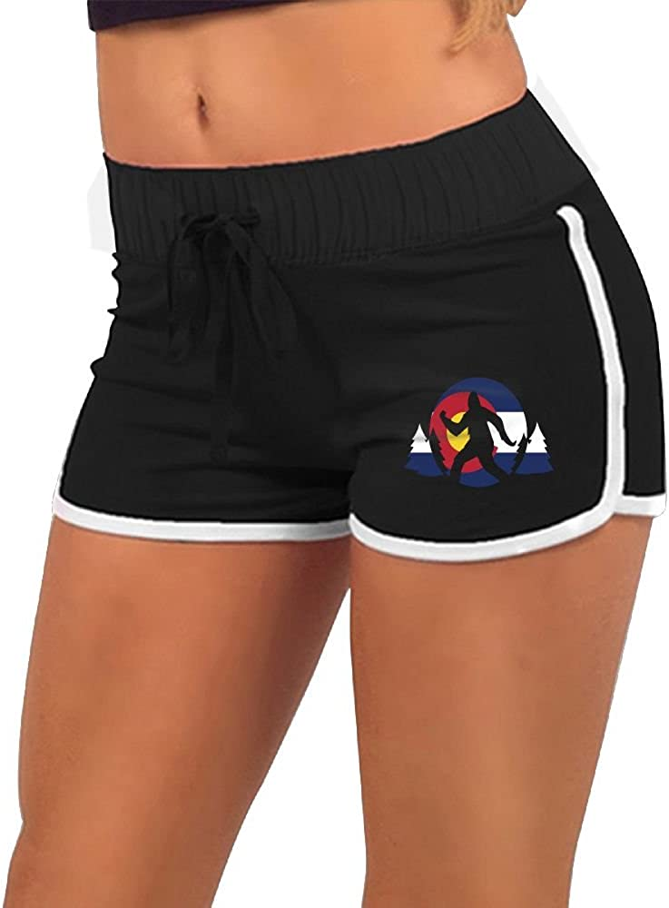 Pantsing Colorado Flag Bigfoot Womens Sports Running Workout Dolphin Shorts