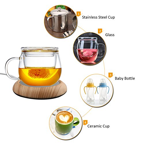 LianLe USB Cup Warmer Electric Cup Heater Wood Grain Milk Heat Insulation Plate Tea Beverage Mug Warmer for Office Home (Uk Furniture 1 Home)