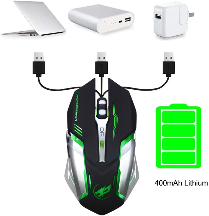 Ship from USA Directly GXOK Rechargeable T1 Wireless Silent LED Backlit USB Optical Ergonomic Gaming Mouse