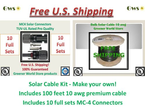Blk Cables General (Solar Cable 100 Feet Bulk-10pack-mc4-connector Kit! U.s. Made Solar Cable 10 AWG 600 Volt Ul Listed Greener World Store)