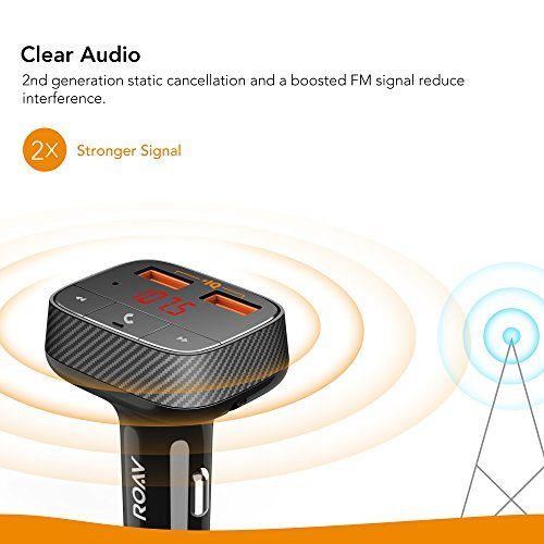 Roav by Anker, SmartCharge F0 FM Transmitter/Bluetooth Receiver/Car Charger with Bluetooth 4.2, 2 USB Ports, PowerIQ, and AUX Output