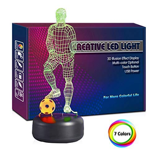 Mixed Dual Color Night Light Player & Soccer 3D Lamp with 7 Color USB Cable Night Light Football Lover Gift (Soccer Player Football 3D Night Lamp)